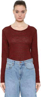 Etoile Isabel Marant STRIPED LINEN JERSEY LONG SLEEVE T-SHIRT
