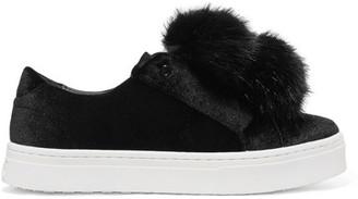 Sam Edelman - Leya Faux Fur-embellished Velvet Slip-on Sneakers - Black $100 thestylecure.com