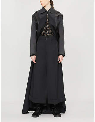 Comme des Garcons Braided-back layered wool and silk-blend coat