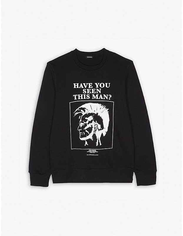 'HAVE YOU SEEN THIS MAN?' print cotton jumper 4-16 years