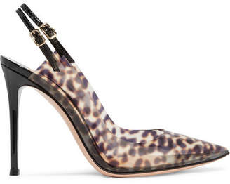 Gianvito Rossi 105 Patent Leather-trimmed Leopard-print Pvc Slingback Pumps - Leopard print