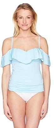 Kenneth Cole Reaction Women's Ready to Ruffle Bandeaukini Bikini Swimsuit Top