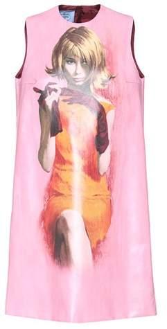 Prada Printed faux-leather dress