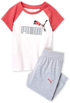Puma Girls 4-6x) Two-Piece Logo Raglan Tee & Joggers Set