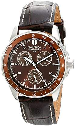 "Nautica Men's N09550G""Windseeker"" Stainless Steel Watch with Brown Leather Band"