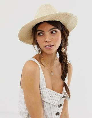 Asos Design DESIGN straw fedora hat with size adjuster