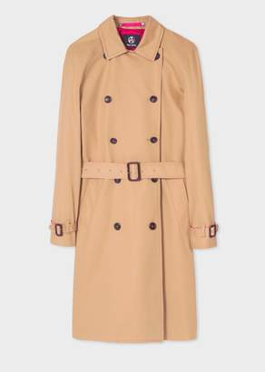 Paul Smith Women's Camel Trench Coat With Contrasting Pink Details