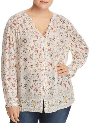 Lucky Brand Plus Floral-Print Peasant Top