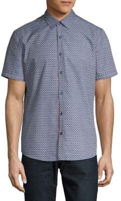 Point Zero Printed Short-Sleeve Button-Down Shirt