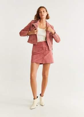 MANGO Fringe leather jacket pink - XS - Women