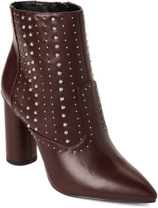 BCBGeneration Burgundy Hollis Studded Pointed Toe Booties