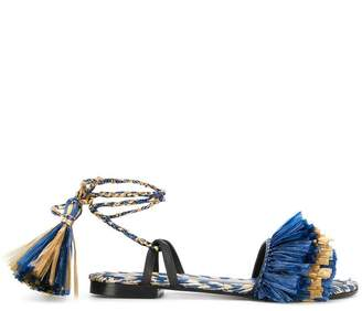 Avec Modération fringed ankle strap sandals