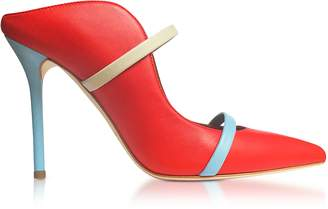 Malone Souliers Flame Red, Ice and Powder Blue Nappa Maureen High Heel Mules