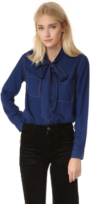 7 For All Mankind Bow Tie Denim Shirt $199 thestylecure.com