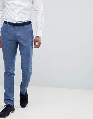 Selected Skinny Fit Suit PANTS In Gray Grid Check