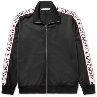 Givenchy Rubber-Appliquéd Satin-Jersey Track Jacket $1,550 thestylecure.com