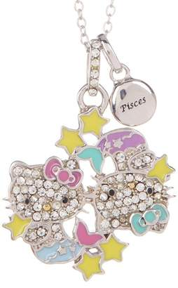 Hello Kitty Zodiac Sterling Silver Pave Crystal Enamel Pisces Pendant Necklace