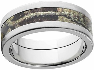 Mossy Oak Break Up Infinity Men's Camo 8mm Stainless Steel Wedding Band with Cross Brushed Edges and Deluxe Comfort Fit