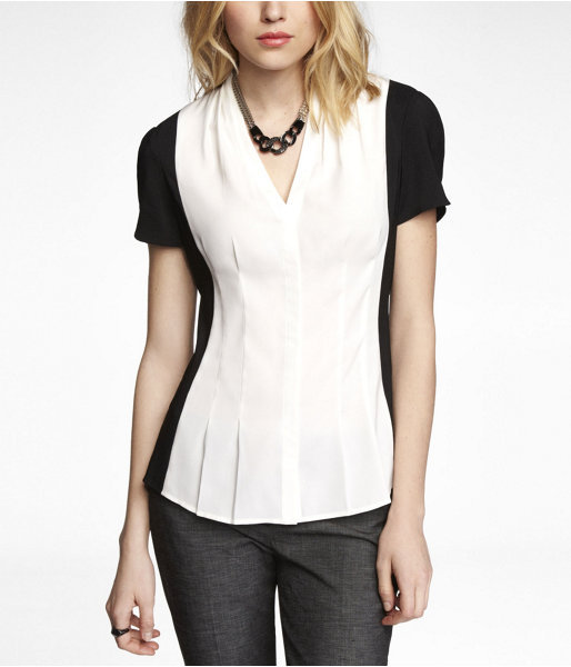 Express Color Block Pleated Shirt