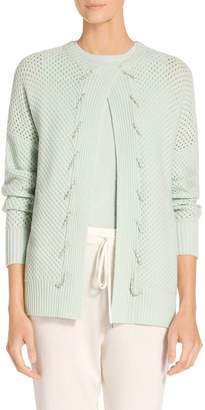 St. John Cashmere Basketweave Tuck Stitch Knit Cardigan