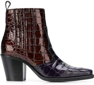 Ganni faux croc ankle boots