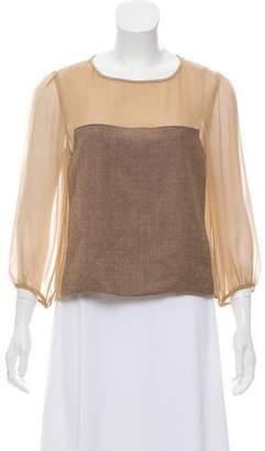 Tibi Long Sleeve Silk Top