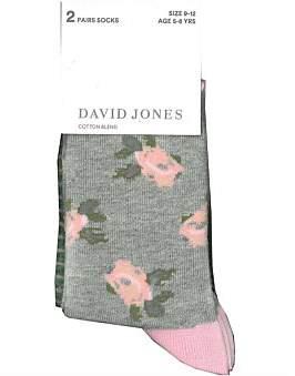 David Jones 2Pk Floral Stripe Socks