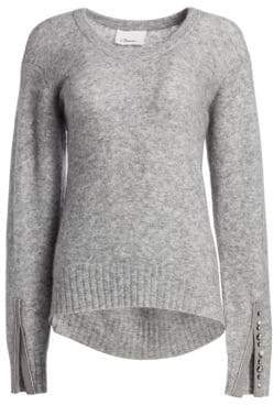 3.1 Phillip Lim Women's Embellished Split-Cuff Roundneck Alpaca Sweater - Medium Melange Grey - Size Small