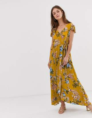 Band of Gypsies wrap front maxi dress in yellow floral print