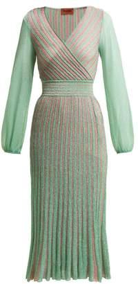 Missoni Metallic Striped Wrap Dress - Womens - Green Multi