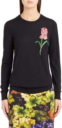 Dolce & Gabbana Flower Embellished Wool Sweater