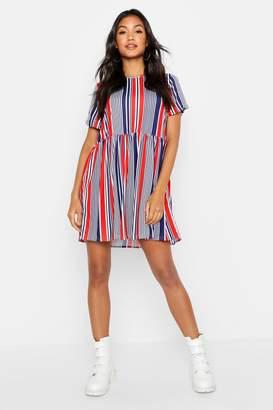 boohoo Nautical Stripe Gathered Waist Smock Dress