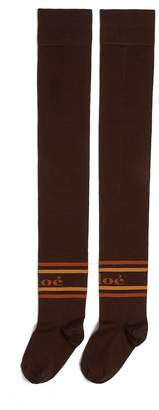 Chloé Logo intarsia thigh high socks