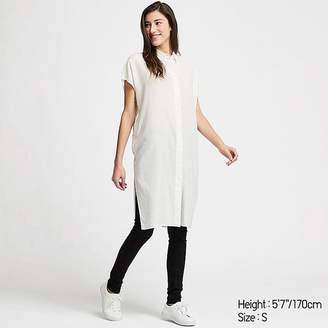 Uniqlo Women's Linen Blend Short-sleeve Long Shirt
