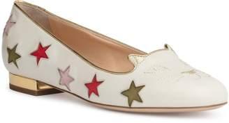Charlotte Olympia White 15 star kitty flats