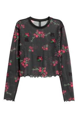 H&M Short Mesh Top - Black/red floral - Women