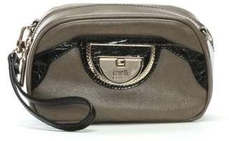 Class Roberto Cavalli Coco Taupe Leather Clutch Bag