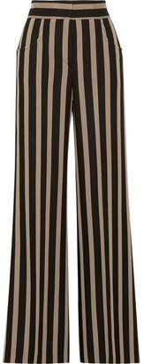 Etro Striped Grain De Poudre Wide-leg Pants - Black