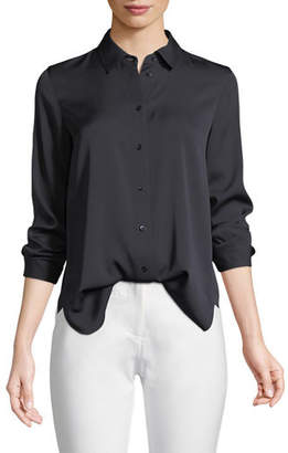 Vince Slim-Fit Long-Sleeve Stretch-Silk Blouse