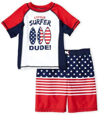 Americana Bunz Kidz (Boys 4-7) Two-Piece Little Surfer Dude Rash Guard & Board Shorts Set