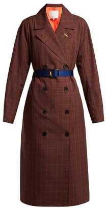 Tibi Checked Double Breasted Twill Trench Coat - Womens - Brown Multi