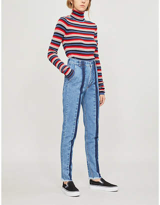 Ksenia Schnaider Front-stripe faded high-rise slim-fit jeans