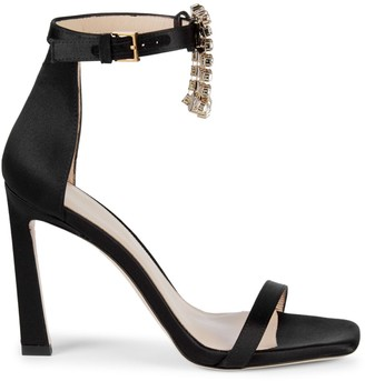 Stuart Weitzman Fringed Jewel Satin High-Heel Sandals