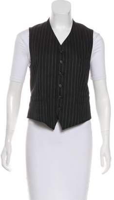 Ralph Lauren Purple Label Linen Striped Button-Up Vest