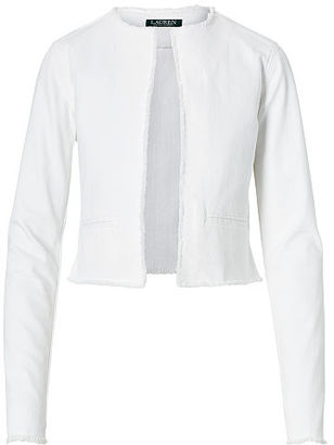 Ralph Lauren Lauren Frayed Denim Jacket $175 thestylecure.com