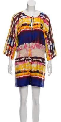 Halston Silk Tie-Dye Romper