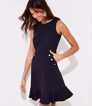 LOFT Tall Button Pocket Flounce Dress