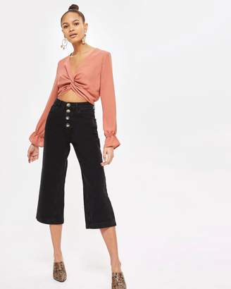Topshop MOTO Button Wide Leg Cropped Jeans
