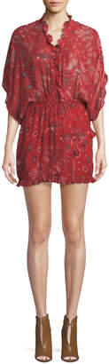 IRO Bamanta Half-Sleeve Paisley-Print Short Dress