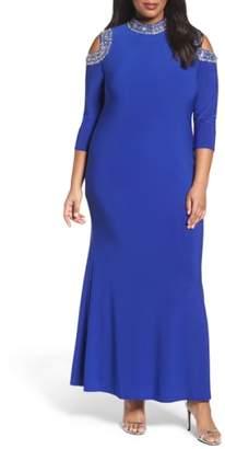 Marina Embellished Neck Cold Shoulder Gown